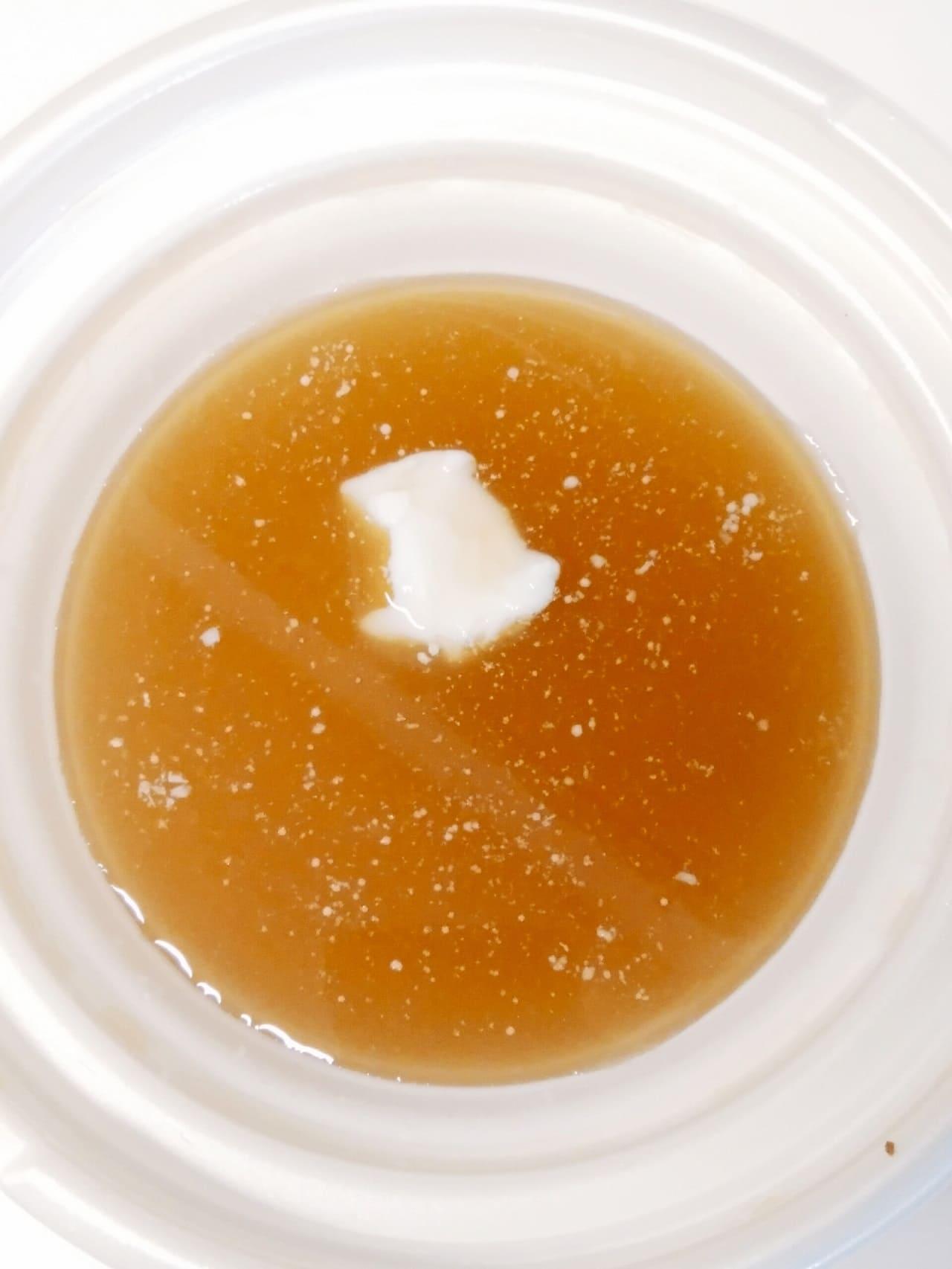 温め前の牛骨醤油スープ