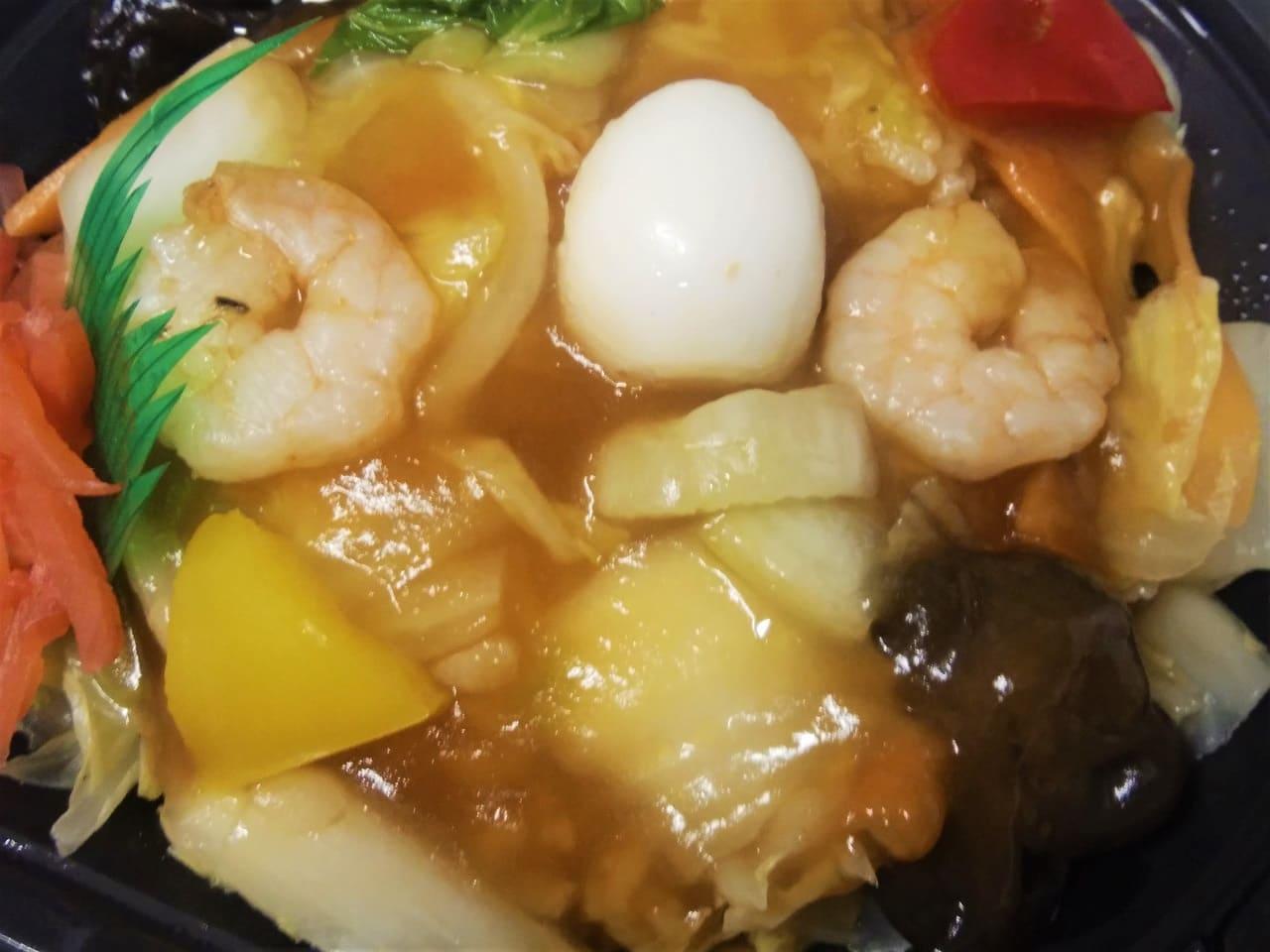 中華あんかけ丼の餡のアップ